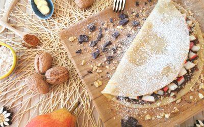 Crêpe pere e cioccolato con granella di noci