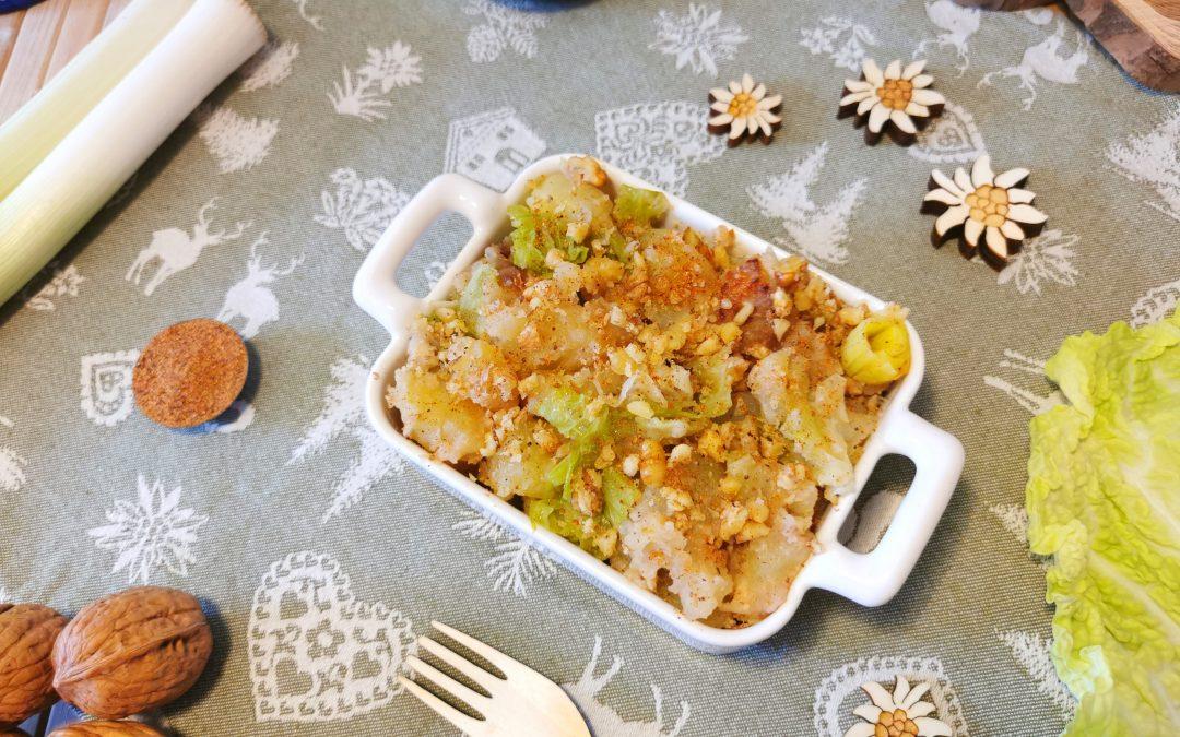 Sformato di patate con verza e noci
