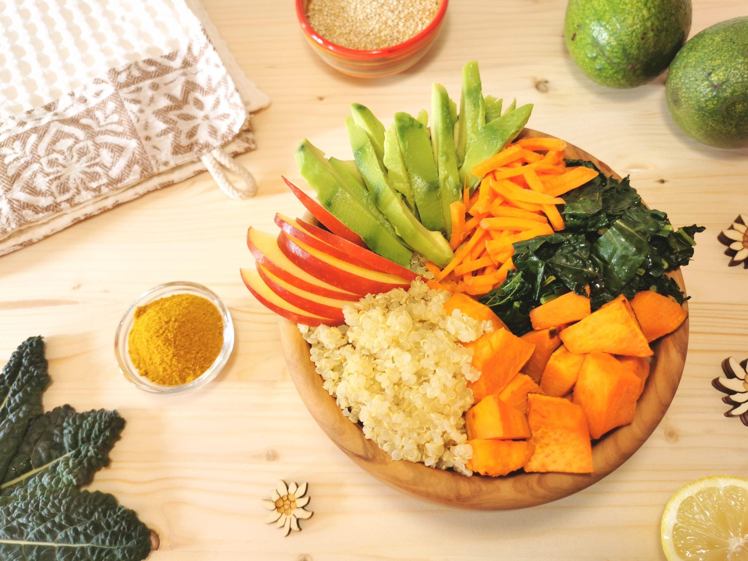 Buddha Bowl con quinoa e avocado